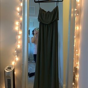 Forever 21 Forest green strapless maxi